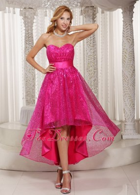 Hot Pink High-low Sweetheart 2013 Prom Dress For Cocktail