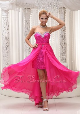 Hot Pink Beaded Sweetheart Detachable Chiffon Prom Dress