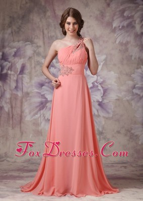 Watermelon One Shoulder Chiffon Ruch And Beading Prom Dress