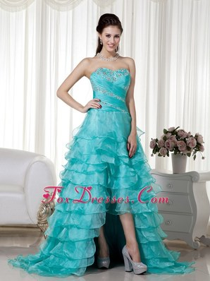 Sweetheart Teal A-line Organza Beading Prom Evening Dress
