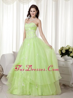 Yellow Green Prom Dress A-line Sweetheart Organza Beading