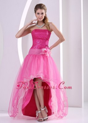 Hot Pink High-low Sequins Hand Flower Prom Dress Organza
