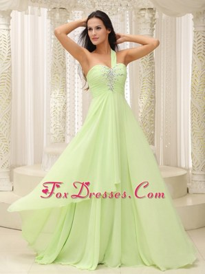 Yellow Green Prom Dress One Shoulder Ruched Bodice Beaded