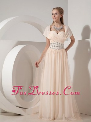 Champagne Prom Dress Column Sweetheart Chiffon Beading