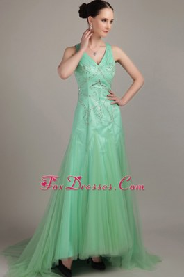 V-neck Tulle Beading Prom Party Dresses Apple Green Sweep Train