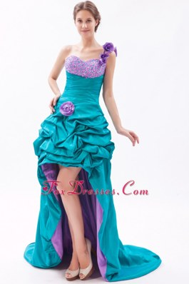 One Shoulder High-low Prom Dress with Beading FLowers