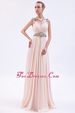 Champagne Chiffon Beading Prom Dress Empire Straps