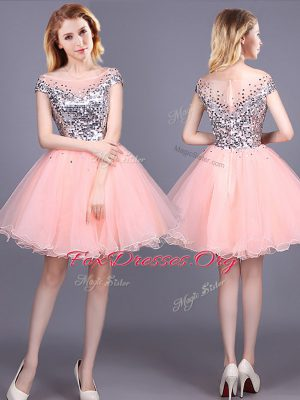 Exquisite Pink Short Sleeves Sequins Mini Length Quinceanera Court of Honor Dress