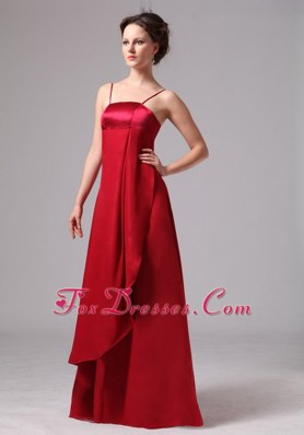 Spaghetti Straps Simple Wine Red Wedding Guest Bridesmaid Dress