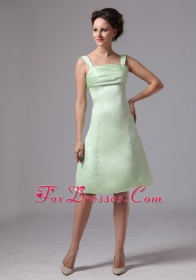 Ruched Straps Apple Green Wedding Guest Dresses for Bridesmaid