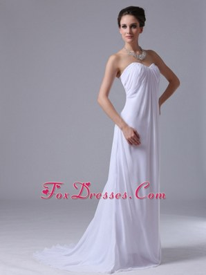 White Ruching Chiffon Bridesmaid Dresses for Beach Wedding