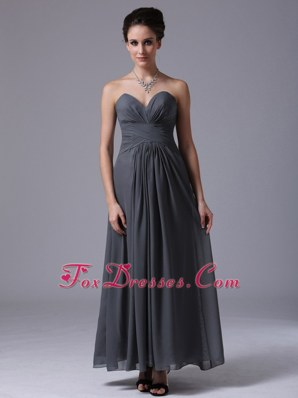 Ruching Chiffon Homecoming Bridesmaid Dress Sweetheart Grey