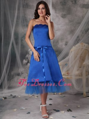 Royal Blue Sashed Taffeta Wedding Guest Bridesmaid Dresses