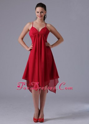 2013 Spagetti Straps Wine Red Asymmetrical Bridesmaid Dresses
