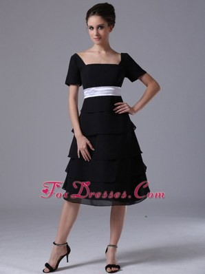 Tiered Chiffon Square Black Wedding Party Bridesmaid Dresses