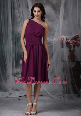 Purple Ruched One Shoulder Chiffon Bridesmaid Dress for Wedding
