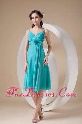 Turquoise Bow Chiffon Bridesmaid dresses with Spaghetti Straps