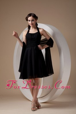 Halter Ruched Knee-length Chiffon Black Wedding Bridesmaid Dresses