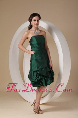 Dark Green Strapless Short Taffeta Beading Bridesmaid Dresses