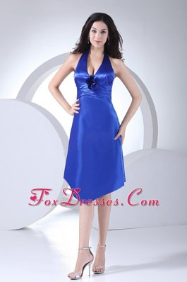 Halter Ruched Taffeta Knee-length Royal Blue Bridesmaid Dress