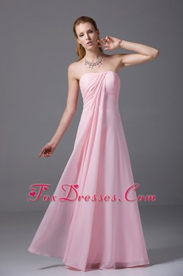 Light Pink Ruched Bridesmaid Dresses Chiffon 2013 New Style