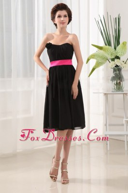 Colored Sashes Black Wedding Guest Bridesmaid Dresses Chiffon