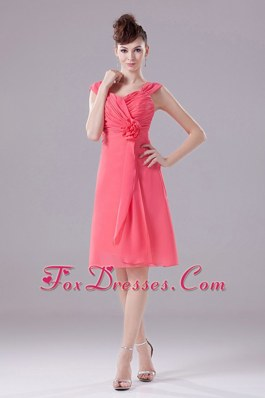 Hand Flower Ruched Straps Chiffon Watermelon Bridesmaid Dress