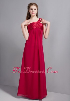 One Shoulder Wine Red Empire Bridesmaid Dress Floor-length