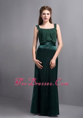 Dark Green Straps Column Bridesmaid Dresses Floor-length