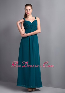Teal Ankle-length V-neck Chiffon Ruched Bridesmaid Dress