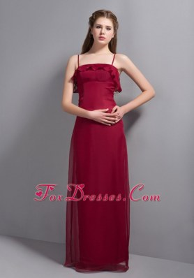 Spaghetti Straps Wine Red Chiffon Column Bridesmaid Dresses