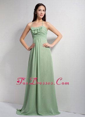Halter Apple Green Empire Chiffon Bridesmaid Dresses