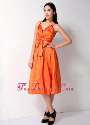 Spaghetti Straps Orange Red Taffeta Bridesmaid Dresses