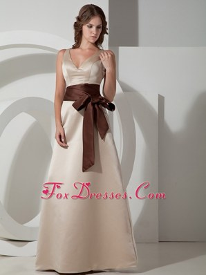 V-neck Grey Satin A-line Belt Bridesmaid Dresses Straps