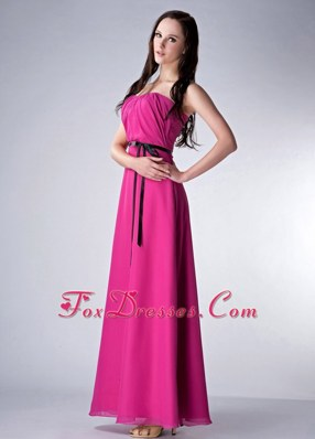 Ruched Fushsia Ankle-length Chiffon Bridesmaid Dresses