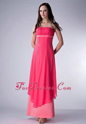 Coral Red Strapless Ankle-length Ruched Bridesmaid Dresses