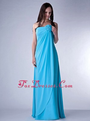 Aqua Blue Empire Handmade Flowers Chiffon Bridesmaid Dress