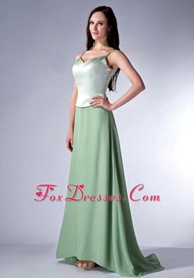 Spaghetti Straps Apple Green V-neck Cloumn Bridesmaid Dress