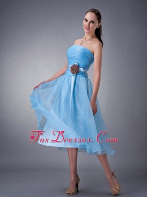 Baby Blue Tea-length A-line Bridesmaid Dresses Strapless