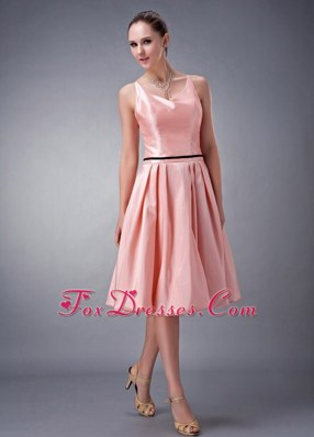 Watermelon V-neck Short Taffeta Bridesmaid Dresses A-line