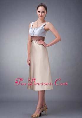 Champagne Scoop Satin Tea-length Bridesmaid Dresses Column