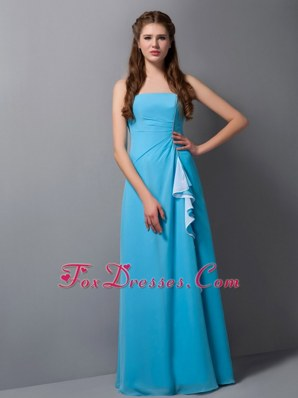 Aqua Blue Empire Strapless Chiffon Beading Bridesmaid Dress