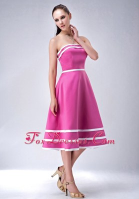 Hot Pink and White Strapless A-line Satin Bridesmaid Dresses