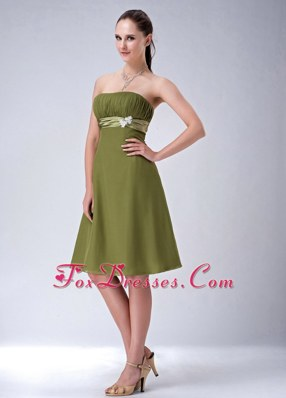 Olive Green Empire Strapless Ruched Chiffon Bridesmaid Dress