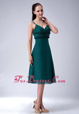 Dark Green Spaghetti Straps V-neck Chiffon Bridesmaid Dress