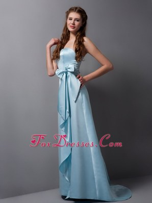 Baby Blue Column Strapless Sash Bridesmaid Dresses