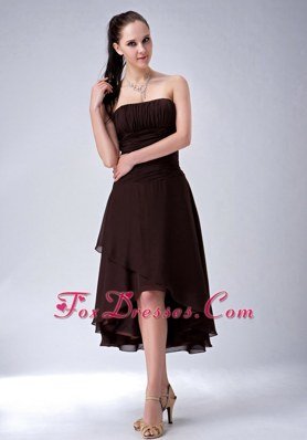 High-low Ruched Brown Chiffon A-line Bridesmaid Dresses