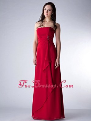 Column Strapless Wine Red Chiffon Beading Bridesmaid Dresses