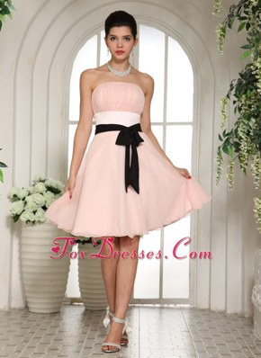 Baby Pink Knee-length Bridesmaid Dresses with Black Sash