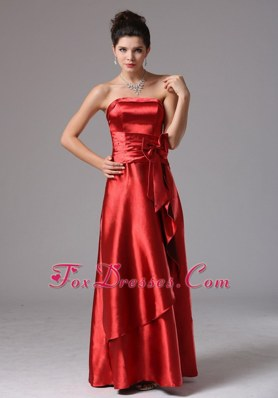 Customize Wine Red Bridesmaid Dresses with Bow Decorate